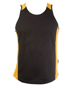 Australian Spirit-Aus Spirt Olympikool Mens Singlets 1st ( 10 Colour )-Black/Gold / S-Uniform Wholesalers - 5