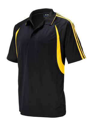 Biz Collection-Biz Collection Mens Flash Polo 1st (  9 Colour )-Black / Gold / Small-Uniform Wholesalers - 3