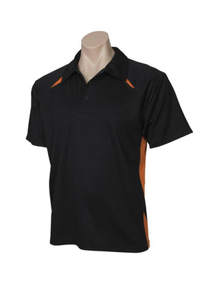 Biz Collection-Biz Collection  Mens Splice Polo 1st ( 10 Colour )-Black / Orange / Small-Uniform Wholesalers - 4
