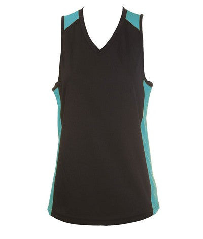 Australian Spirit-Aus Spirt Olympikool Ladies Singlet 1st ( 10 Colour )-Black / Teal / 8-Uniform Wholesalers - 7