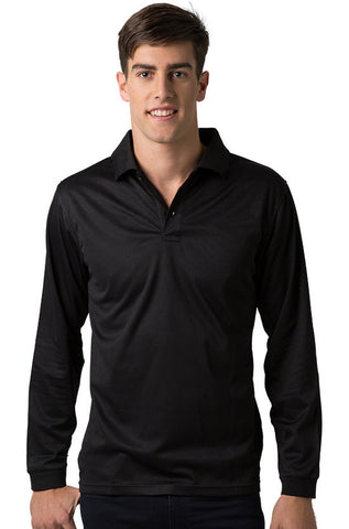 Be Seen-Be Seen Men's Plain Polo Shirt Long Sleeve-Black / S-Uniform Wholesalers - 1