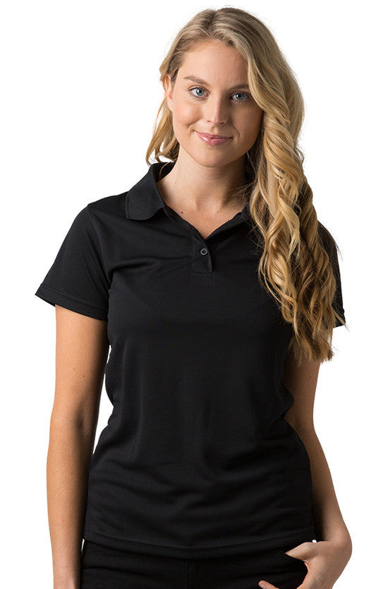 Be Seen-Be Seen Ladies Plain Polo Shirt With Herringbone Tape At Neck-Black / 8-Uniform Wholesalers - 1