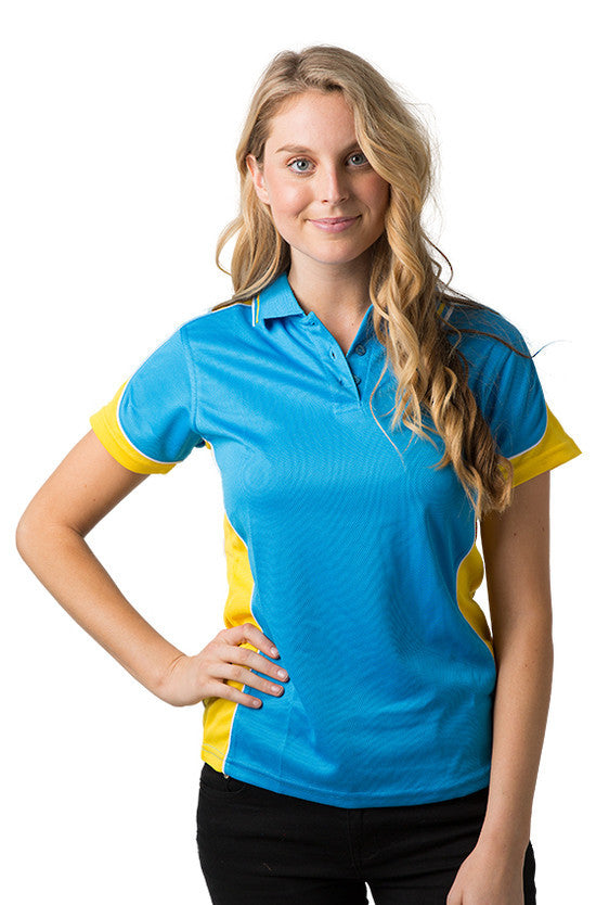 Be Seen-Be Seen Ladies Polo Shirt With Striped Collar 1st( 12 Color )-Hawaiian Blue-Yellow-White / 8-Uniform Wholesalers - 8