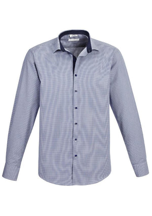 Biz Collection-Biz Collection Edge Mens long sleeve shirt-Blue / S-Uniform Wholesalers - 2
