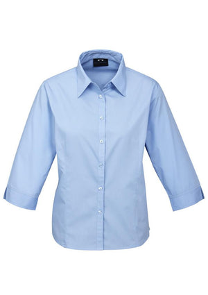Biz Collection-Biz Collection Ladies Base 3/4 Sleeve Shirt-Blue / 6-Uniform Wholesalers - 3