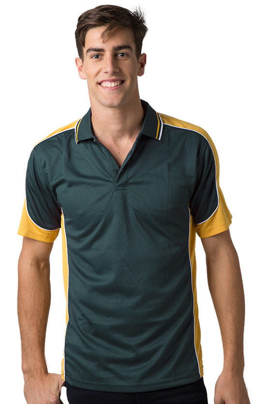 Be Seen-Be Seen Men's Polo Shirt With Striped Collar 2nd( 8 Color )-Bottle-Gold-White / XS-Uniform Wholesalers - 1