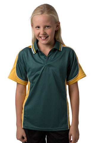 Be Seen-Be Seen Kids Polo Shirt With Striped Collar 2nd( 15 Color )-Bottle-Gold-White / 6-Uniform Wholesalers - 1