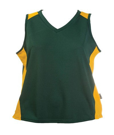 Australian Spirit-Aus Spirt Olympikool Ladies Singlet 1st ( 10 Colour )-Bottle green / Gold / 8-Uniform Wholesalers - 9