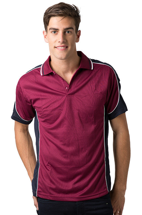 Be Seen-Be Seen Men's Polo Shirt With Striped Collar 2nd( 8 Color )-Burgundy-Navy-White / XS-Uniform Wholesalers - 4