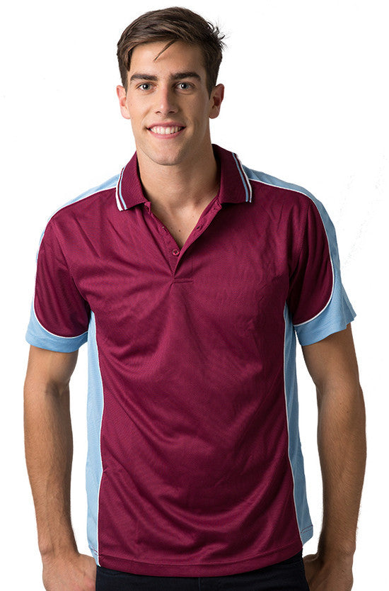 Be Seen-Be Seen Men's Polo Shirt With Striped Collar 2nd( 8 Color )-Burgundy-Sky-White / XS-Uniform Wholesalers - 5