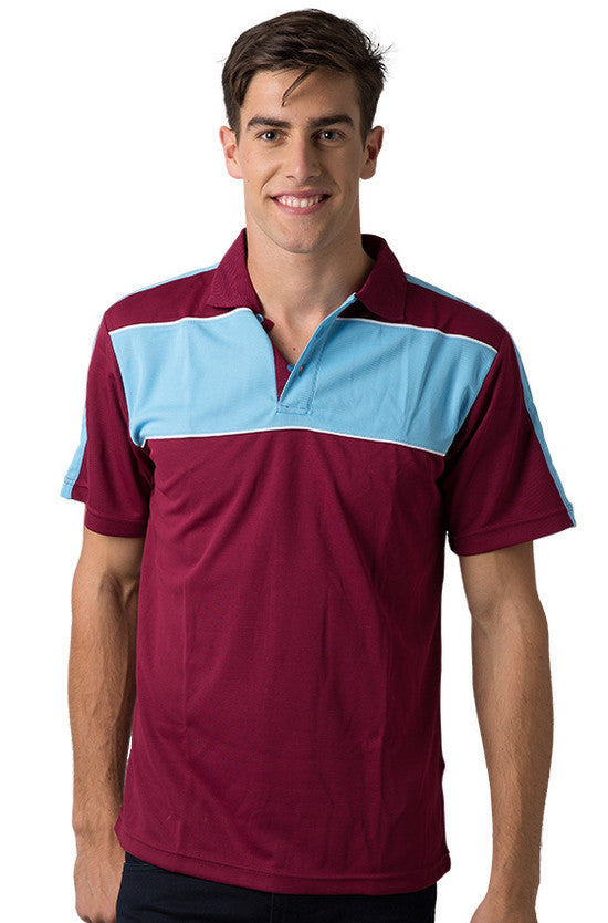 Be Seen-Be Seen Men's Polo With Contrast Shoulder-Burgundy-Sky-White / XS-Uniform Wholesalers - 5