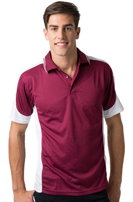 Be Seen-Be Seen Men's Polo Shirt With Striped Collar 2nd( 8 Color )-Burgundy-White-White / XS-Uniform Wholesalers - 6