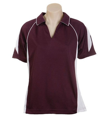Australian Spirit-Aus Spirt Olympikool Ladies Polo 2nd ( 6 Colour )-Burgundy / White / 8-Uniform Wholesalers - 2