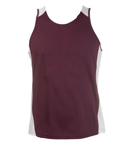 Australian Spirit-Aus Spirt Olympikool Ladies Singlet 1st ( 10 Colour )-Burgundy / White / 8-Uniform Wholesalers - 10