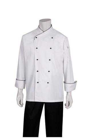 Chef Works-Chef Works Coogee Classic Chef Jacket with Black Piping-XS / White-Uniform Wholesalers