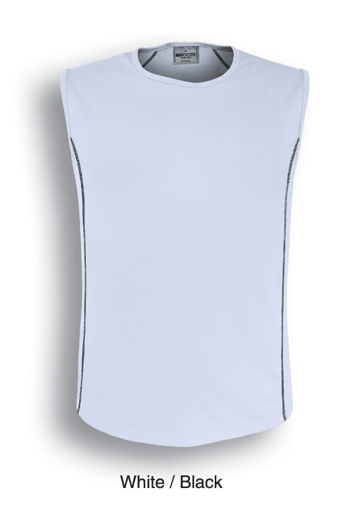 Bocini-Bocini Men's Stitch Body Tank 1st(10Colour)-White/Black / S-Uniform Wholesalers - 2