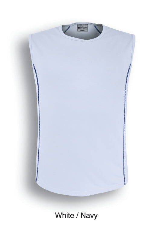 Bocini-Bocini Men's Stitch Body Tank 1st(10Colour)-White/Navy / S-Uniform Wholesalers - 1