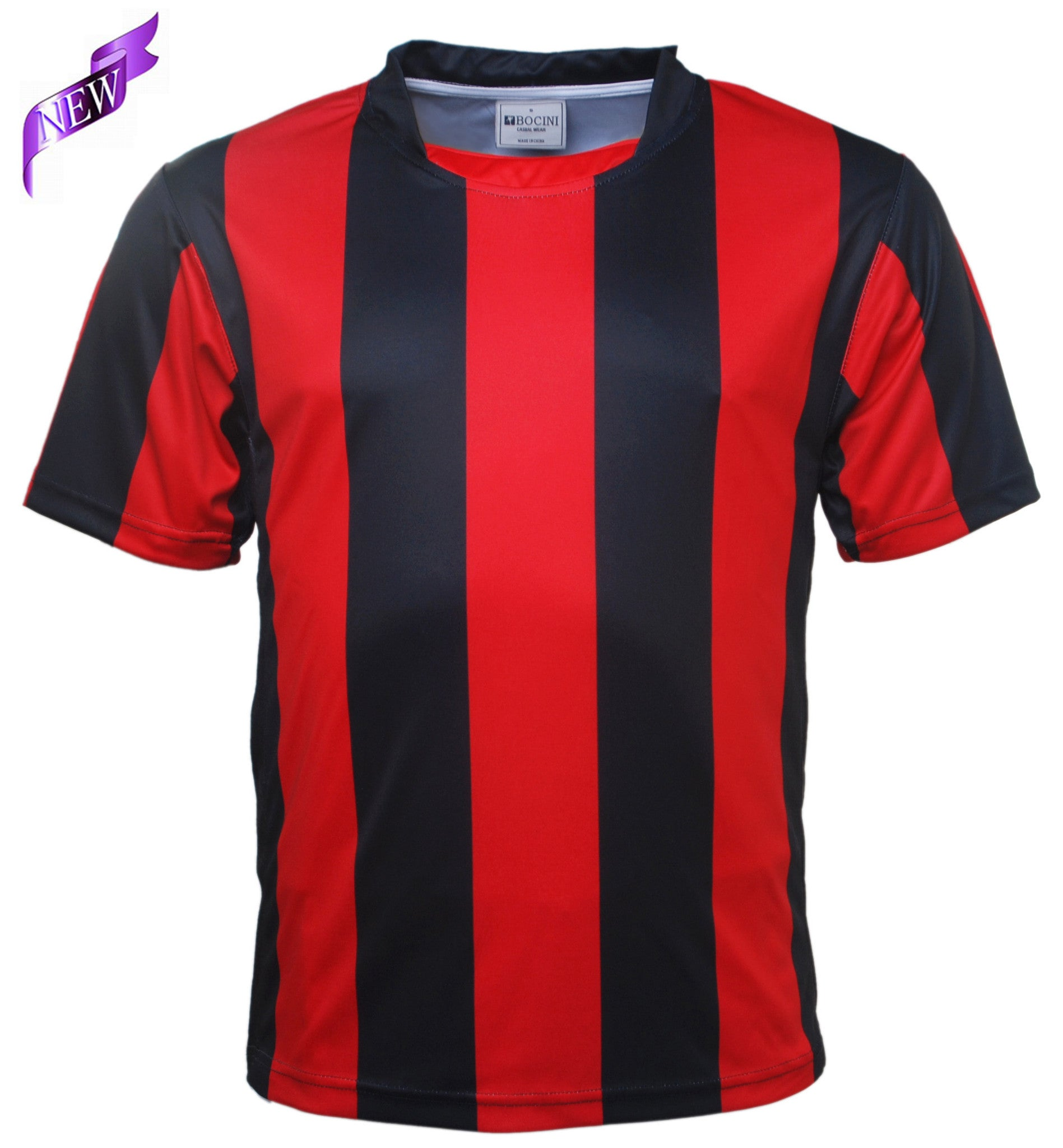 a76fea970fc Bocini-Bocini Adults Striped Football Jersey-Black Red   S-Uniform  Wholesalers