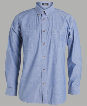 JB's Wear-JB's Cotton Chambray Shirt-S / Chambray Tan L/S-Uniform Wholesalers - 4