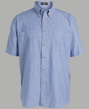 JB's Wear-JB's Cotton Chambray Shirt-S / Chambray Tan S/S-Uniform Wholesalers - 7