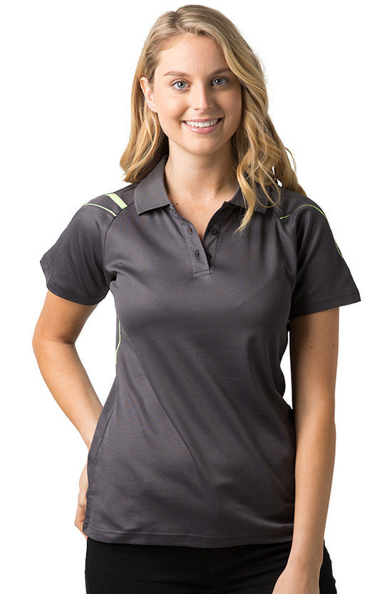 Be Seen-Be Seen Ladies Polo Shirt With Contrast Piping-Charcoal-Lime / 8-Uniform Wholesalers - 2