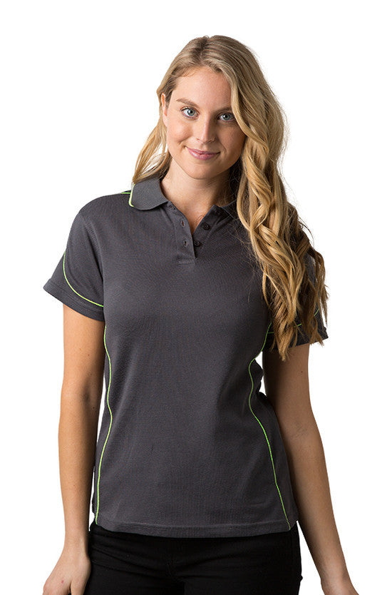 Be Seen-Be Seen Ladies Polo Shirt With Contrast Piping-Charcoal-Lime / 8-Uniform Wholesalers - 4