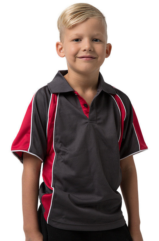 Be Seen-Be Seen Kids Polo Shirt With Contrast Sleeve Edge Piping-Charcoal-Red-White / 6-Uniform Wholesalers - 5