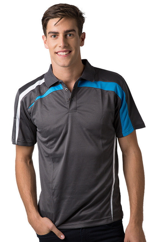 Be Seen-Be Seen Adults Polo Shirt With Contrast Side And Shoulder Panel-Charcoal-White-Hawaiian Blue / S-Uniform Wholesalers - 2