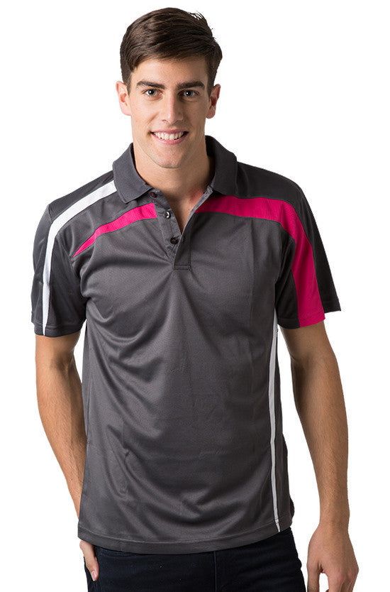 Be Seen-Be Seen Adults Polo Shirt With Contrast Side And Shoulder Panel-Charcoal-White-Hot Pink / S-Uniform Wholesalers - 3
