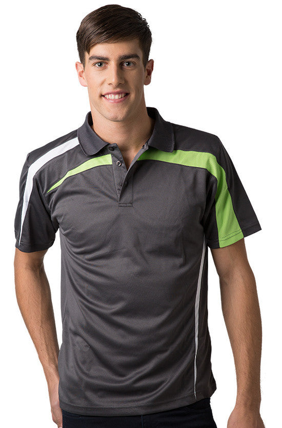 Be Seen-Be Seen Adults Polo Shirt With Contrast Side And Shoulder Panel-Charcoal-White-Lime / S-Uniform Wholesalers - 4