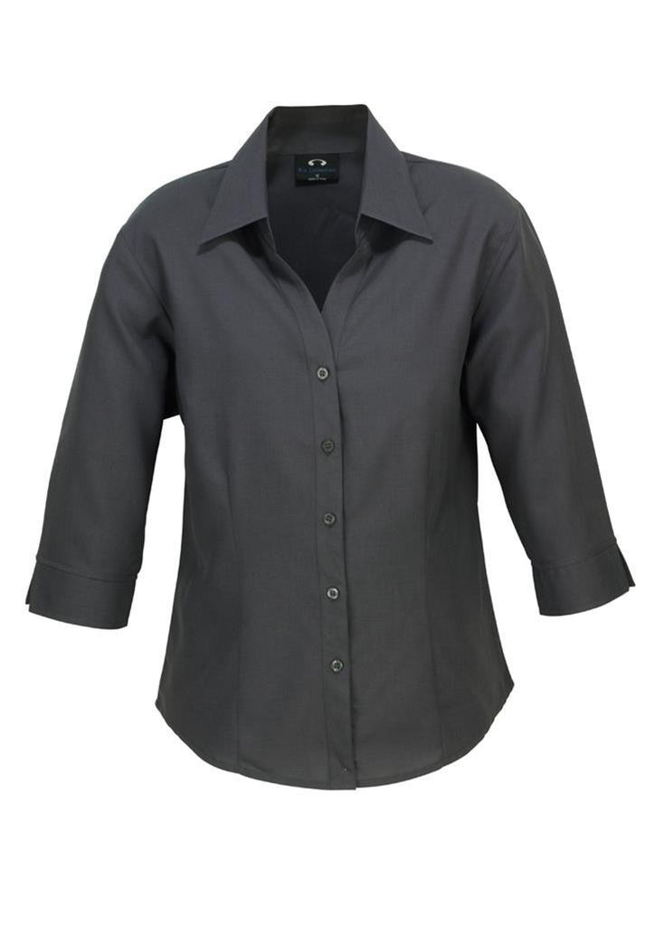 Biz Collection-Biz Collection Ladies Plain Oasis Shirt-3/4 Sleeve-Charcoal / 6-Uniform Wholesalers - 3