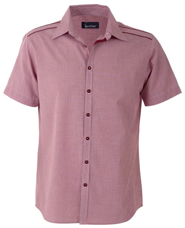 identitee-Identitee Mens Havana Short Sleeves-Cherry/Red / S-Uniform Wholesalers - 2