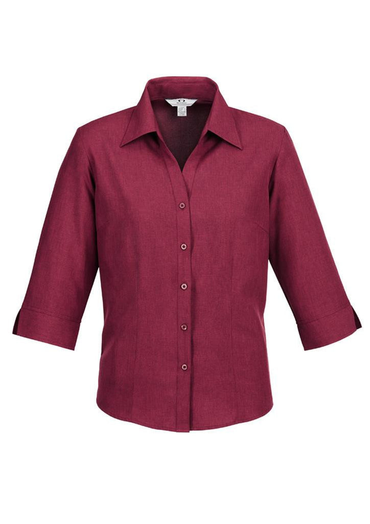 Biz Collection-Biz Collection Ladies Plain Oasis Shirt-3/4 Sleeve-Cherry / 6-Uniform Wholesalers - 4