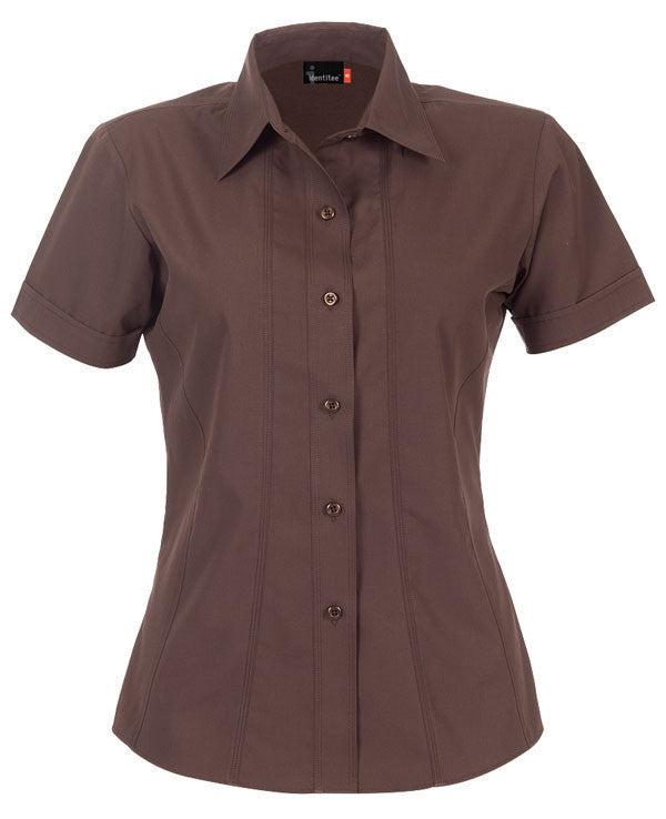 identitee-Identitee Ladies Aston Short Sleeve-Chocolate / 8-Uniform Wholesalers - 3