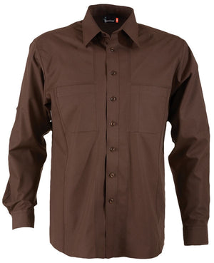 identitee-Identitee Mens Aston Long Sleeve-Chocolate / S-Uniform Wholesalers - 3