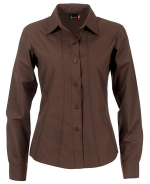identitee-Identitee Ladies Aston Long Sleeve-Chocolate / 8-Uniform Wholesalers - 3