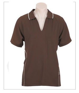 Australian Spirit-Aus Spirt Senator Lady Polo 1st ( 8 Colour )-8 / Chocolate/White-Uniform Wholesalers - 4