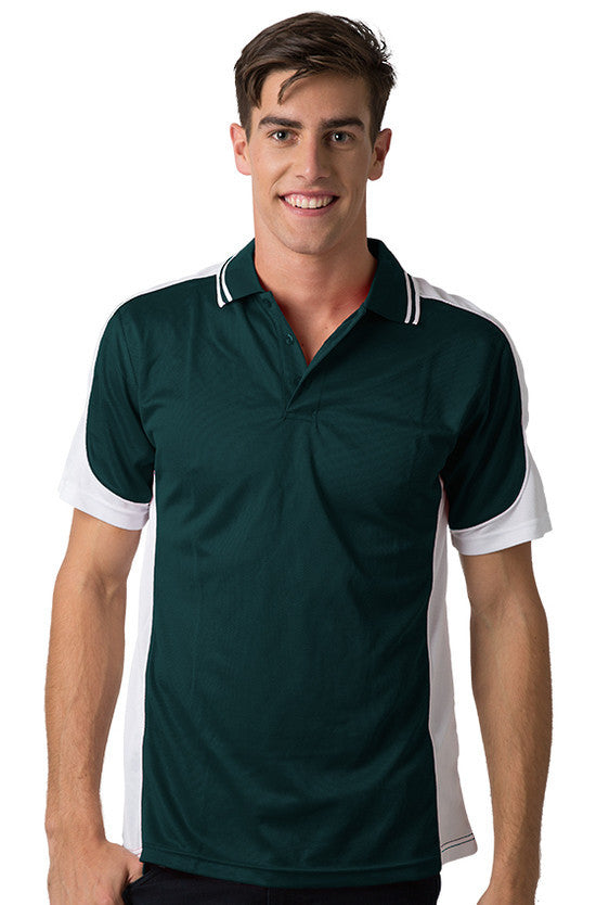 Be Seen-Be Seen Men's Polo Shirt With Striped Collar 2nd( 8 Color )-Dark Green-White-White / XS-Uniform Wholesalers - 8