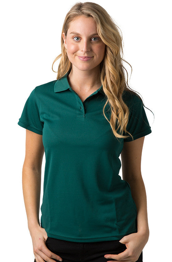 Be Seen-Be Seen Ladies Plain Polo Shirt With Herringbone Tape At Neck-Dark Green / 8-Uniform Wholesalers - 4