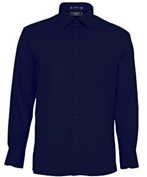 Van Heusen-Van Heusen Gents Cotton Rich Self Stripe European Fit Shirt-38-82 / Navy-Uniform Wholesalers - 3