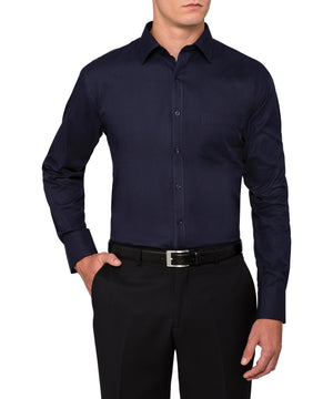 Van Heusen Men's European Tailored Fit Shirt Cotton Polyester Mini Herringbone Easy Care (E148)