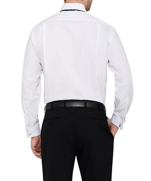 Van Heusen Men's European Tailored Fit Formal Peak Collared Shirt Cotton Polyester Pleated Front French Cuff (E152)