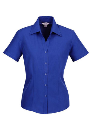 Biz Collection-Biz Collection Ladies Plain Oasis Shirt-S/S-Electric Blue / 6-Uniform Wholesalers - 6