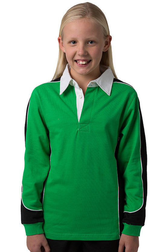 Be Seen-Be Seen Kids Knit Rugby Jersey-Emerald-Black-White / 6-Uniform Wholesalers - 8