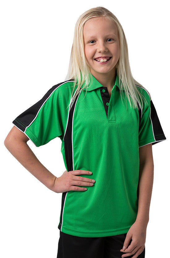 Be Seen-Be Seen Kids Polo Shirt With Contrast Sleeve Edge Piping-Emerald-Black-White / 6-Uniform Wholesalers - 7