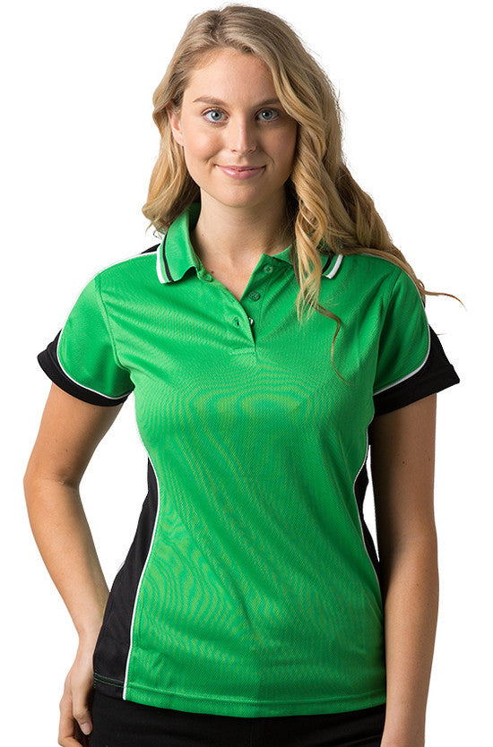 Be Seen-Be Seen Ladies Polo Shirt With Striped Collar 1st( 12 Color )-Emerald-Black-White / 8-Uniform Wholesalers - 7