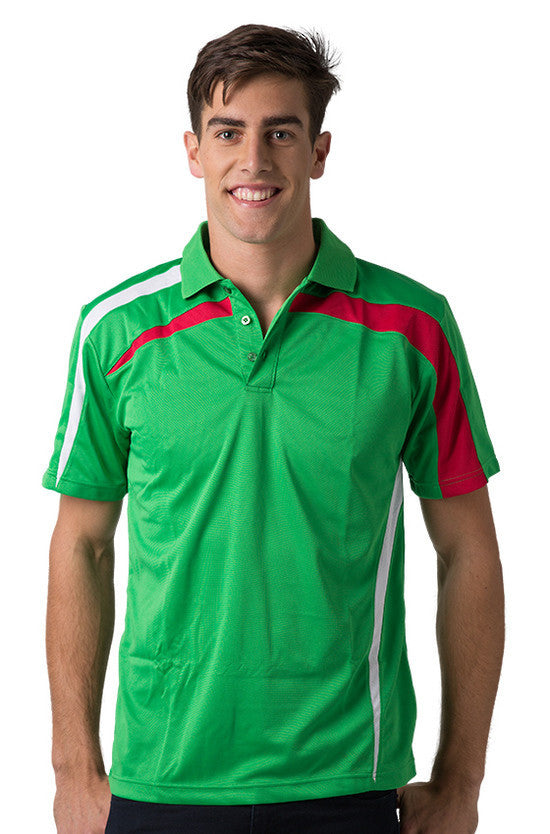 Be Seen-Be Seen Adults Polo Shirt With Contrast Side And Shoulder Panel-Emerald-White-Red / S-Uniform Wholesalers - 7
