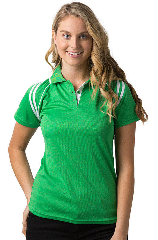 Be Seen-Be Seen Ladies Sleeve Polo Shirt With Striped Collar 1st( 10 Color )-Emerald-White / 8-Uniform Wholesalers - 4