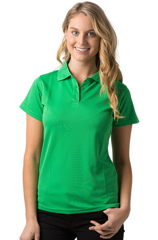Be Seen-Be Seen Ladies Plain Polo Shirt With Herringbone Tape At Neck-Emerald / 8-Uniform Wholesalers - 5