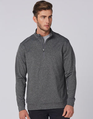 Winning Spirit Mens Half Zip Long Sleeve Sweat Top (FL25)